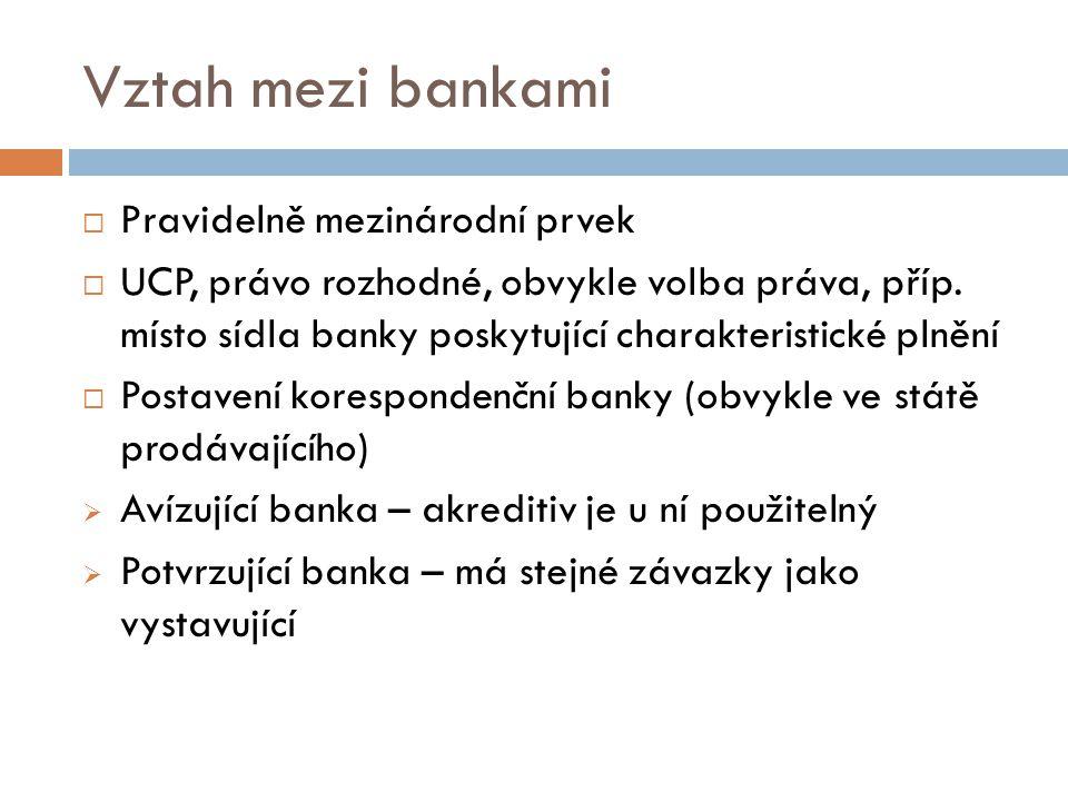 Vztah mezi bankami Pravidelně mezinárodní prvek