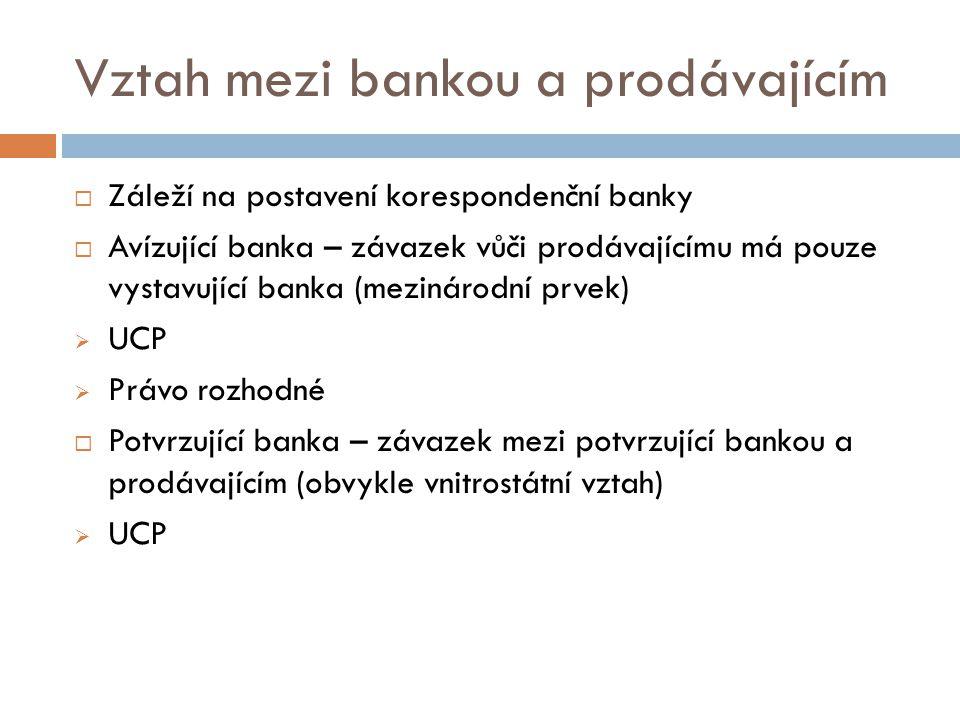 Vztah mezi bankou a prodávajícím