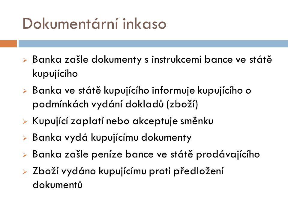 Dokumentární inkaso Banka zašle dokumenty s instrukcemi bance ve státě kupujícího.