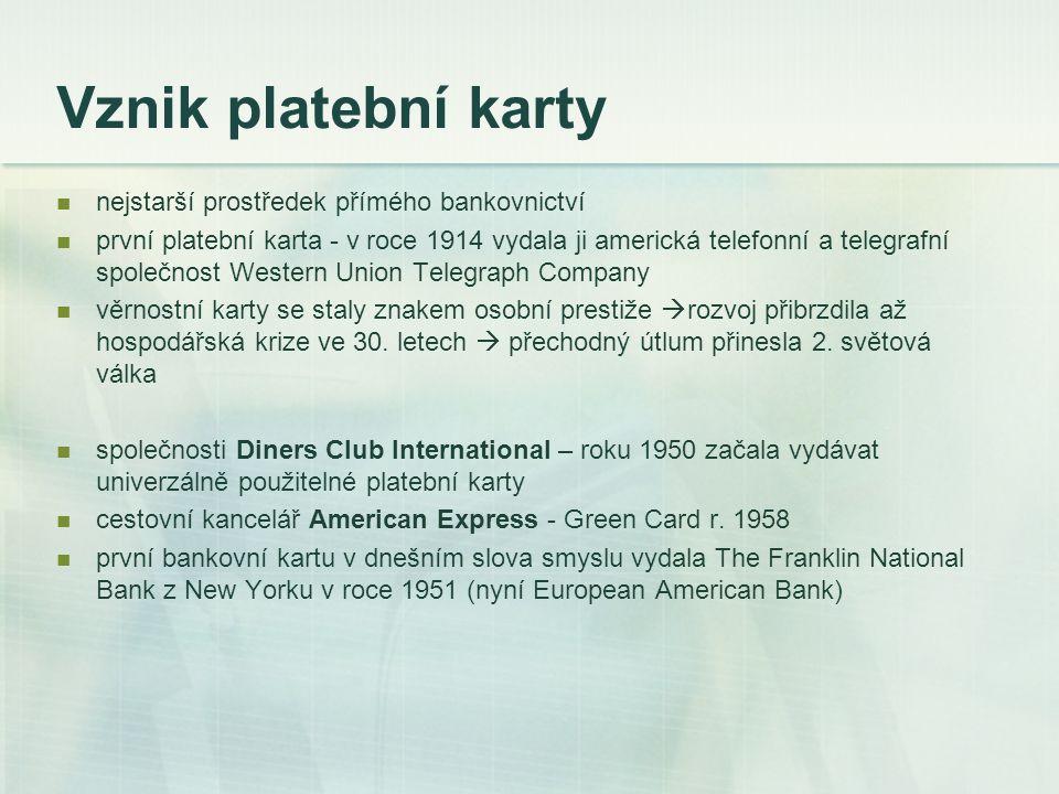 Vznik platební karty nejstarší prostředek přímého bankovnictví