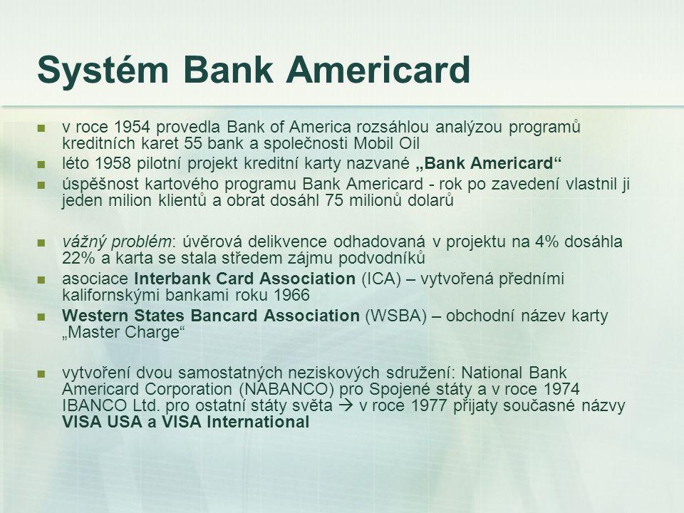Systém Bank Americard v roce 1954 provedla Bank of America rozsáhlou analýzou programů kreditních karet 55 bank a společnosti Mobil Oil.