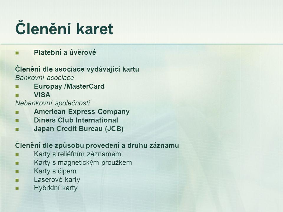 Členění karet Platební a úvěrové Členění dle asociace vydávající kartu