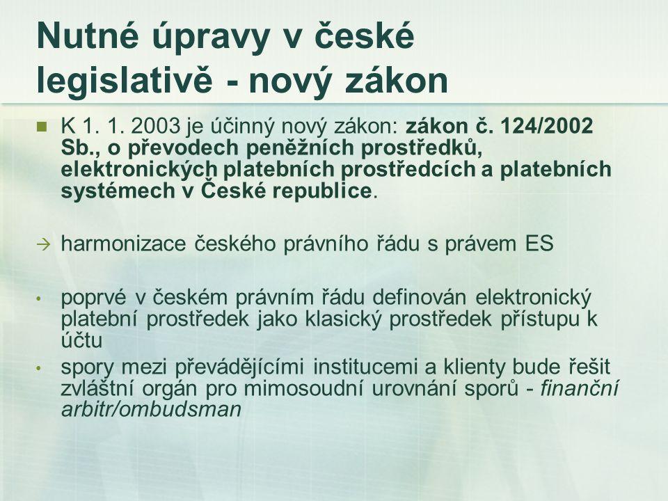 Nutné úpravy v české legislativě - nový zákon