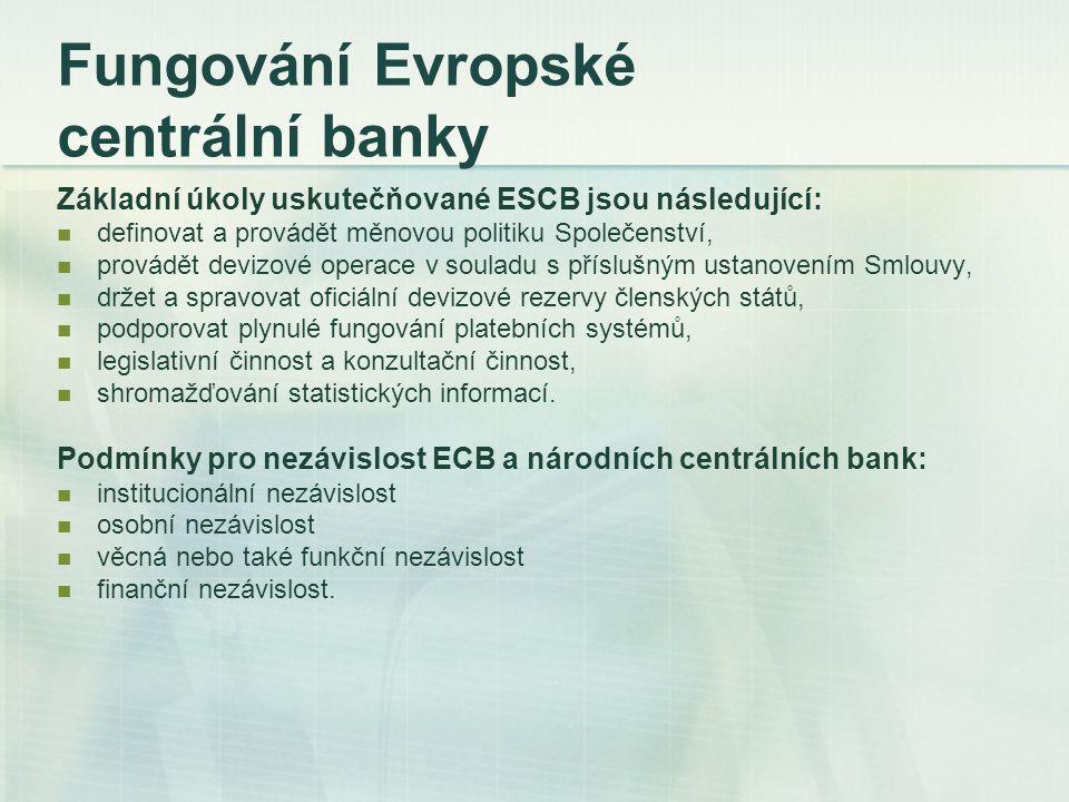 Fungování Evropské centrální banky