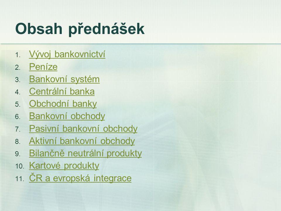 Obsah přednášek Vývoj bankovnictví Peníze Bankovní systém