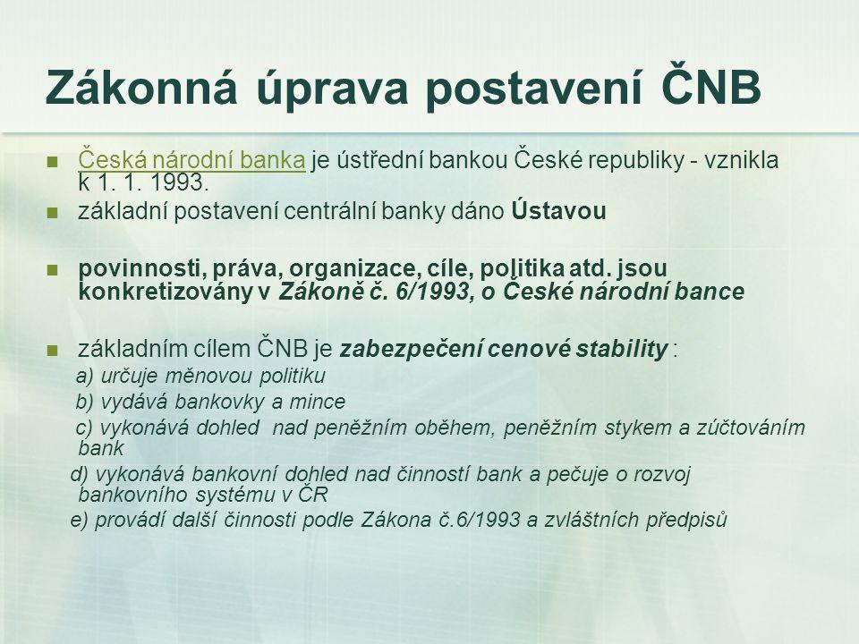 Zákonná úprava postavení ČNB