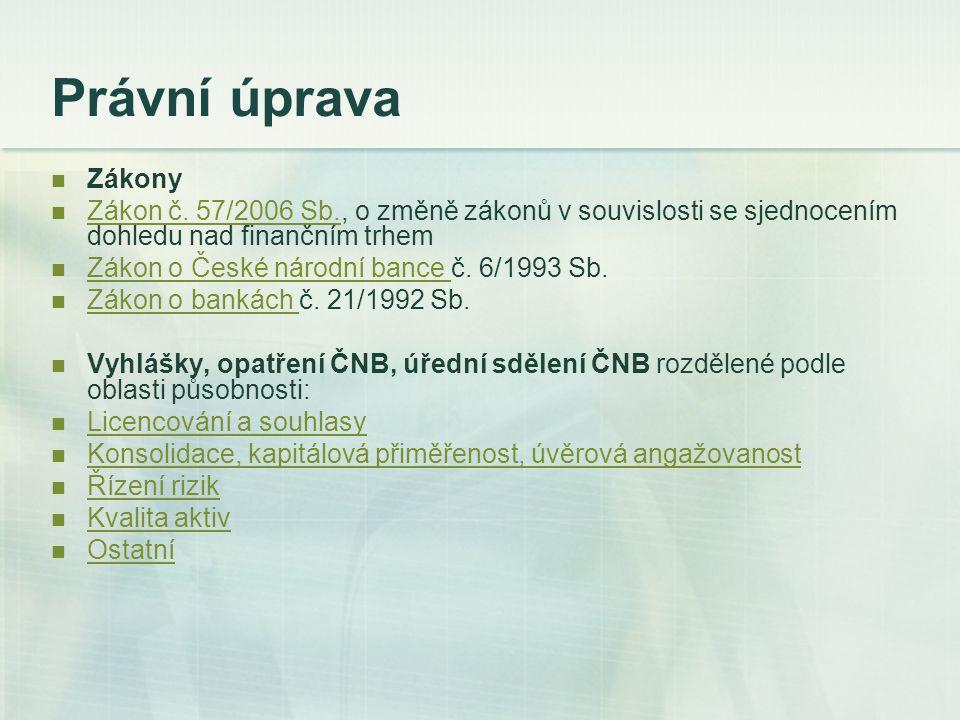 Právní úprava Zákony. Zákon č. 57/2006 Sb., o změně zákonů v souvislosti se sjednocením dohledu nad finančním trhem.