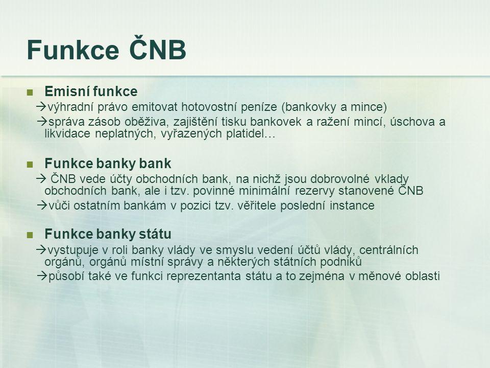 Funkce ČNB Emisní funkce Funkce banky bank Funkce banky státu