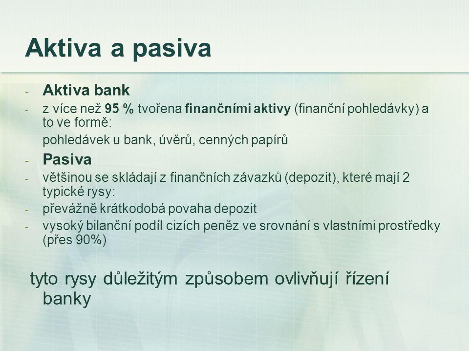 Aktiva a pasiva tyto rysy důležitým způsobem ovlivňují řízení banky