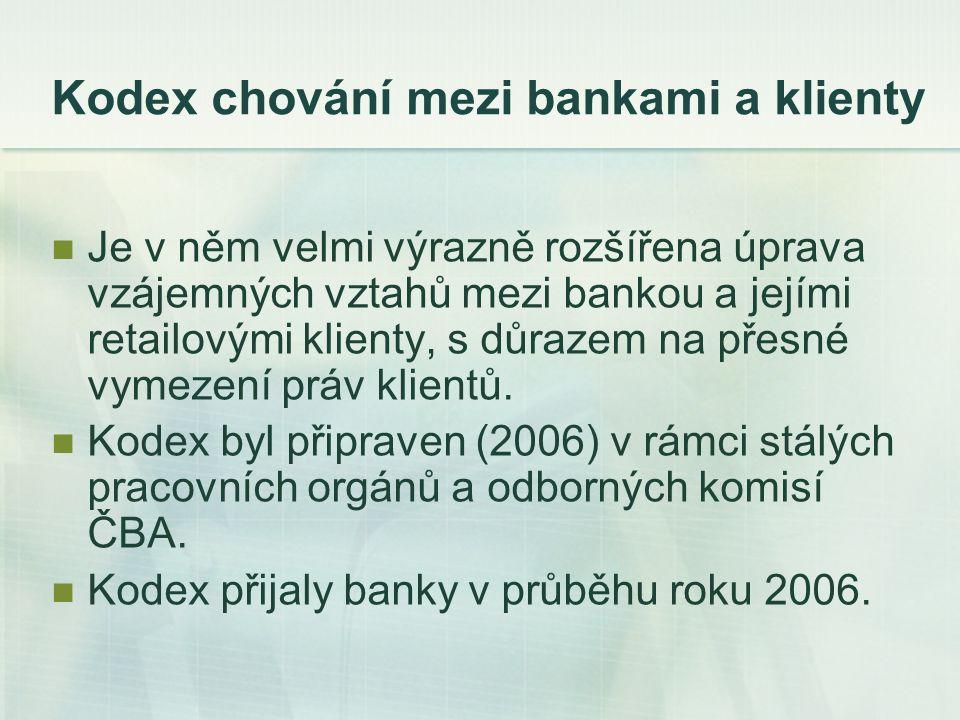 Kodex chování mezi bankami a klienty