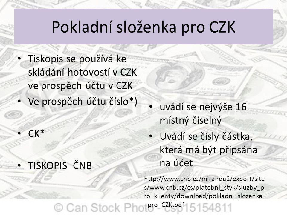 Pokladní složenka pro CZK