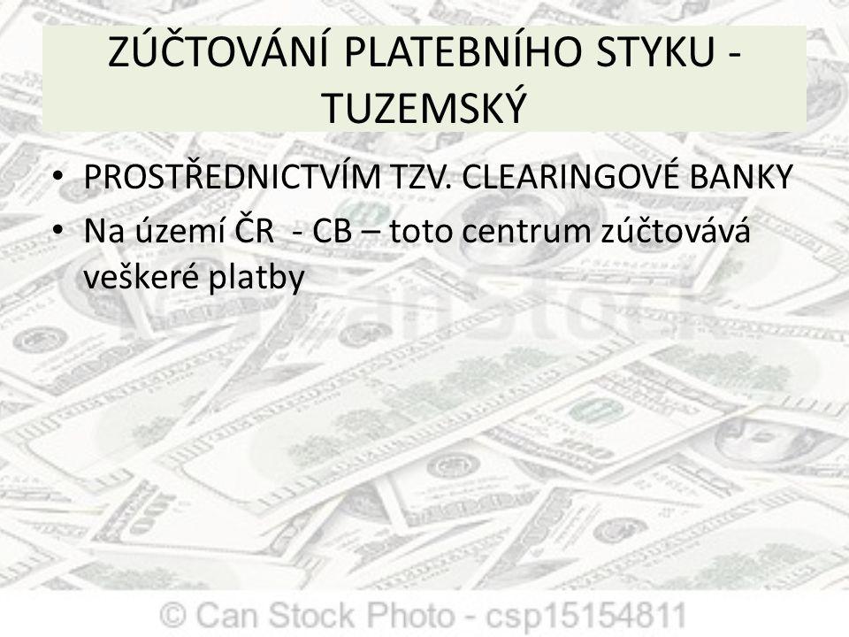 ZÚČTOVÁNÍ PLATEBNÍHO STYKU -TUZEMSKÝ