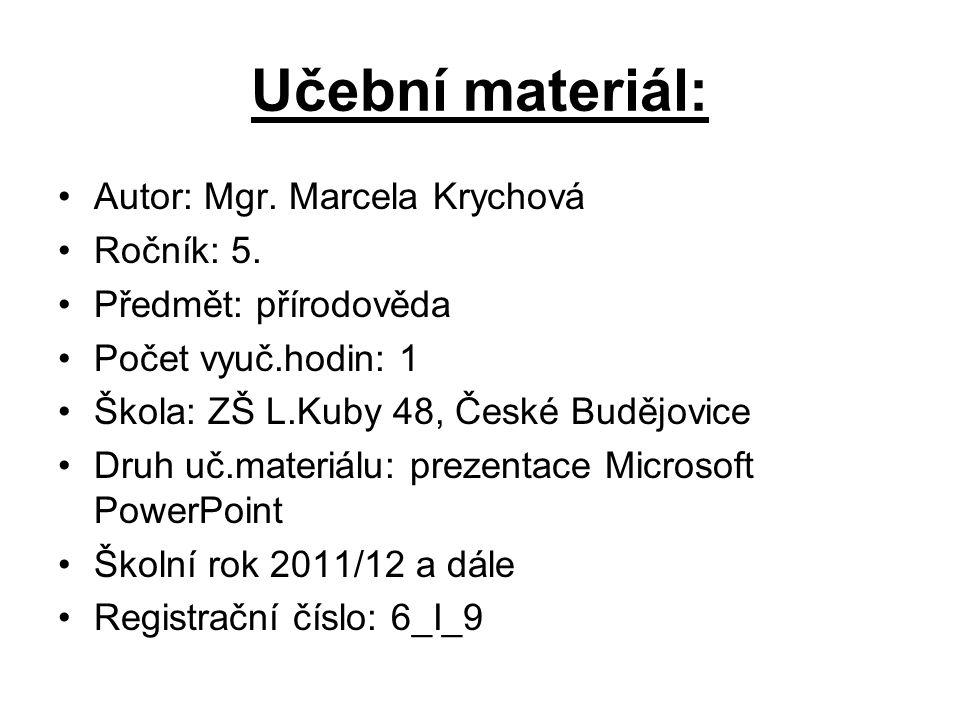 Učební materiál: Autor: Mgr. Marcela Krychová Ročník: 5.