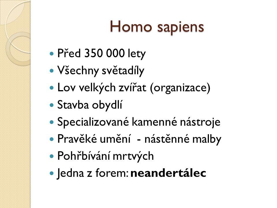 Homo sapiens Před 350 000 lety Všechny světadíly