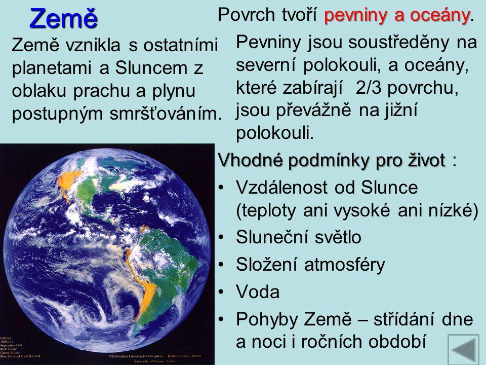 Země Povrch tvoří pevniny a oceány.