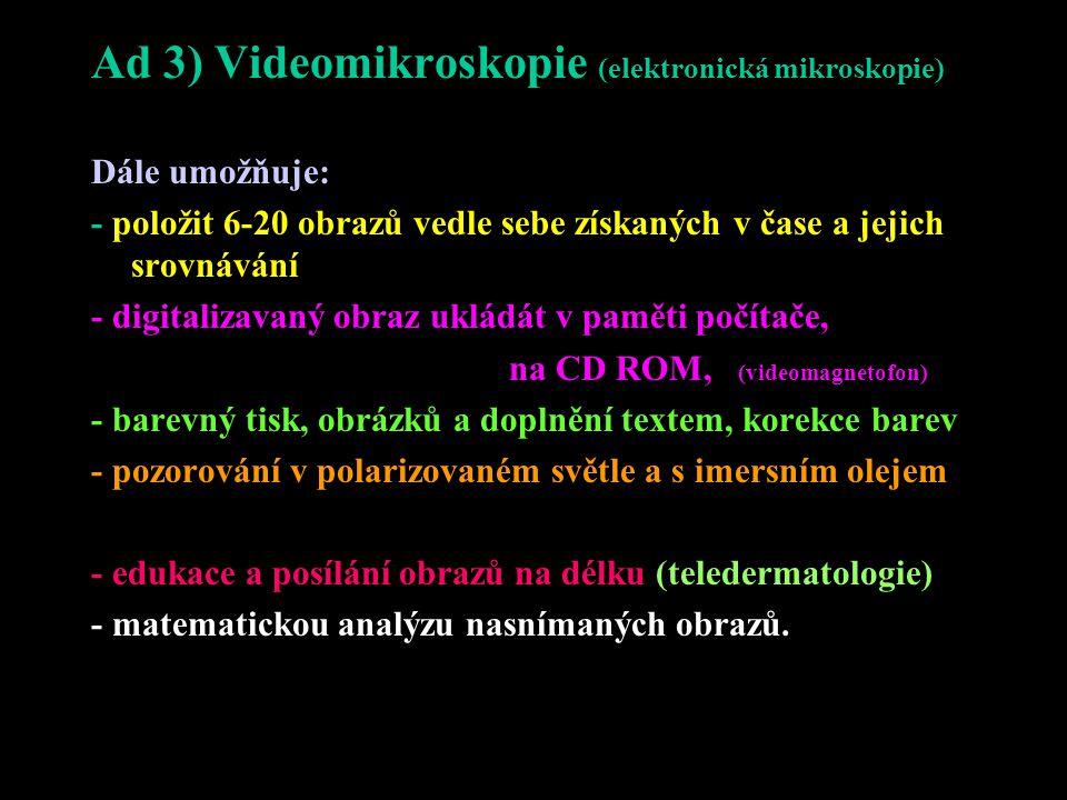 Ad 3) Videomikroskopie (elektronická mikroskopie)