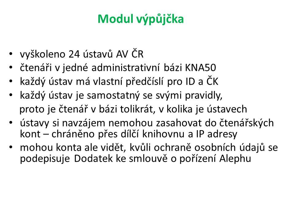 Modul výpůjčka vyškoleno 24 ústavů AV ČR