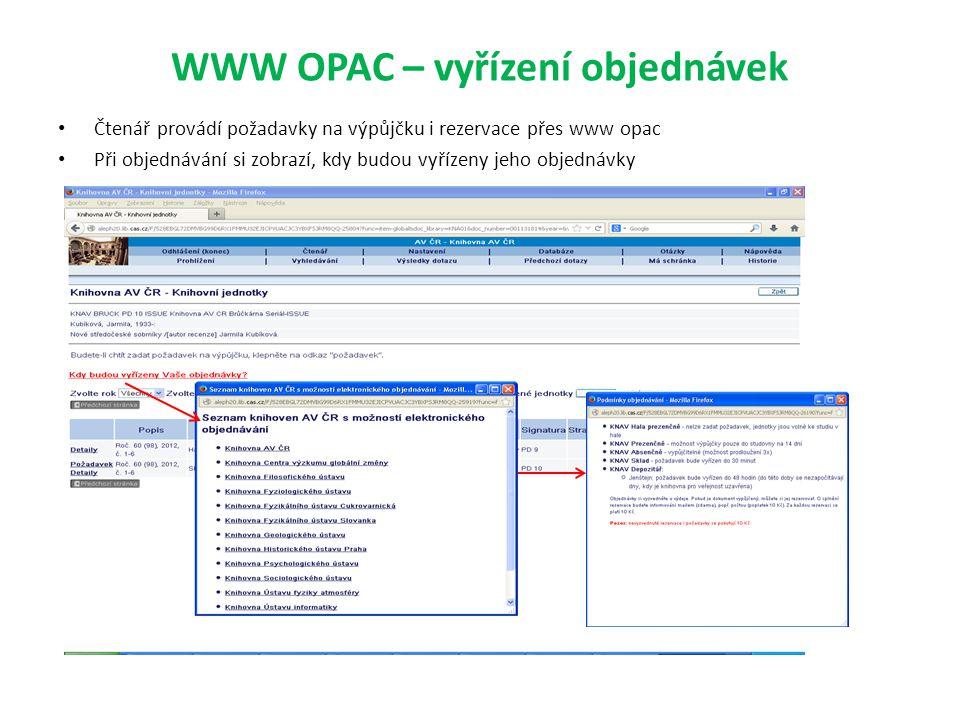 WWW OPAC – vyřízení objednávek