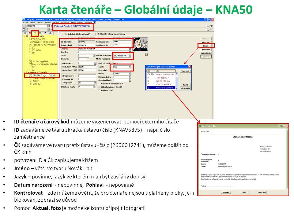 Karta čtenáře – Globální údaje – KNA50