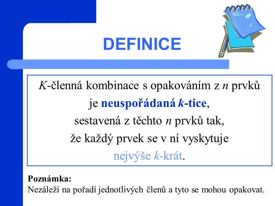 DEFINICE K-členná kombinace s opakováním z n prvků