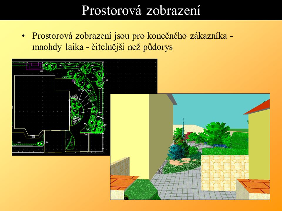Prostorová zobrazení Prostorová zobrazení jsou pro konečného zákazníka - mnohdy laika - čitelnější než půdorys.