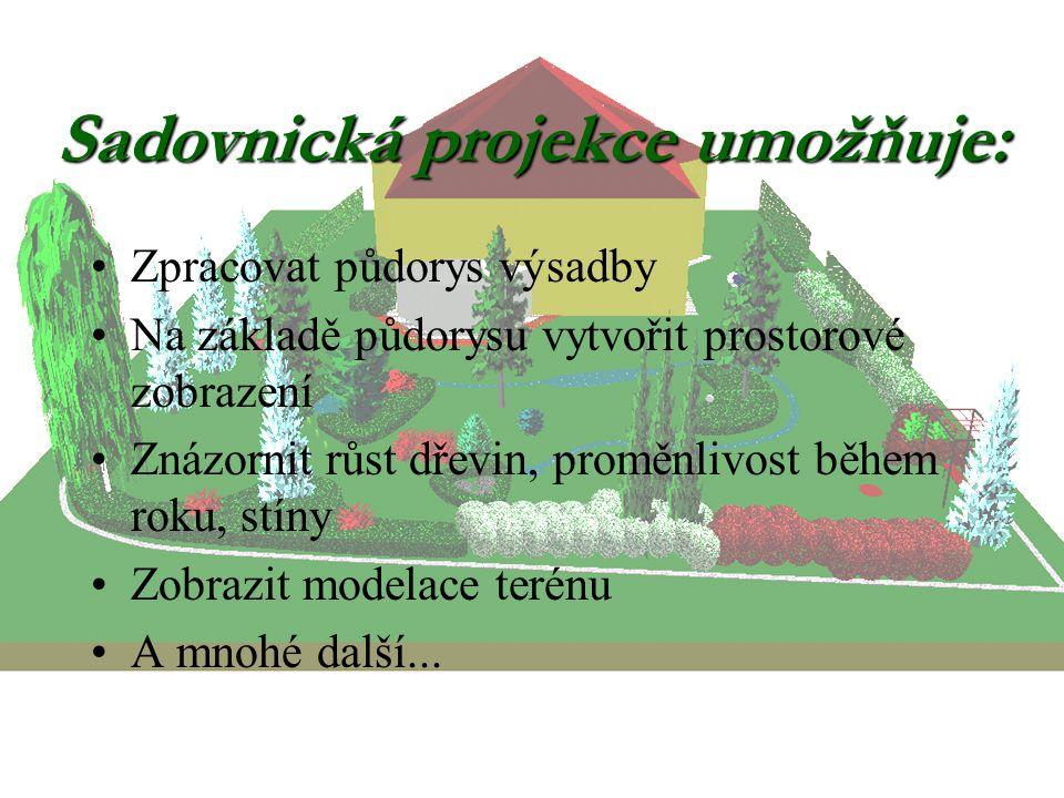 Sadovnická projekce umožňuje: