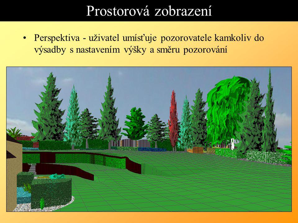 Prostorová zobrazení Perspektiva - uživatel umísťuje pozorovatele kamkoliv do výsadby s nastavením výšky a směru pozorování.