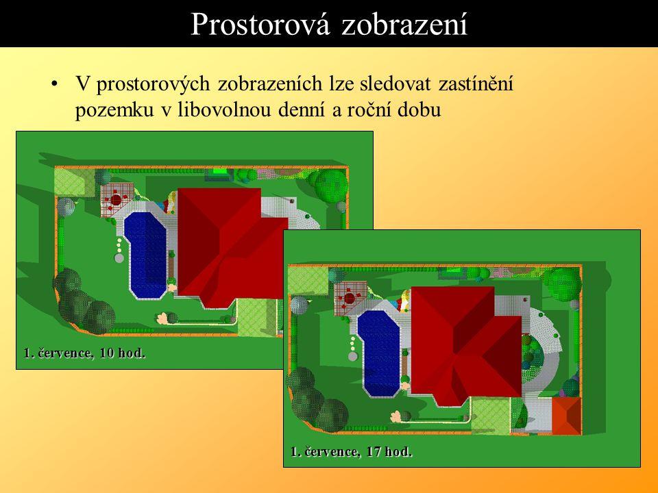 Prostorová zobrazení V prostorových zobrazeních lze sledovat zastínění pozemku v libovolnou denní a roční dobu.