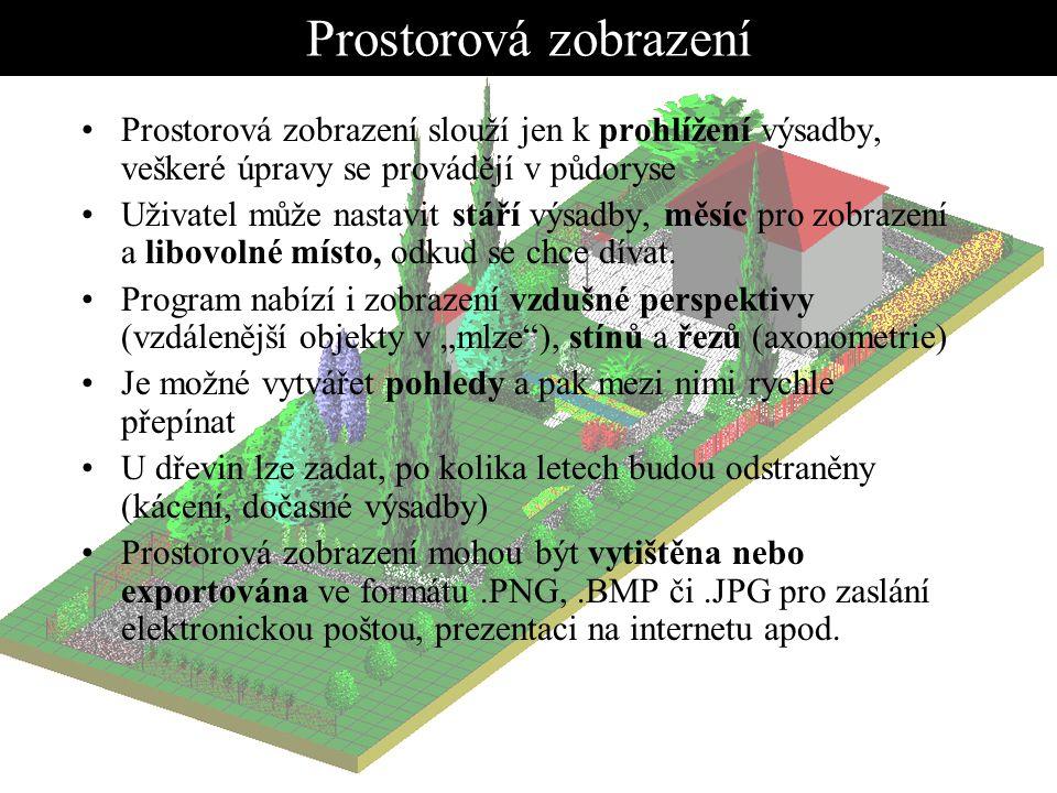 Prostorová zobrazení Prostorová zobrazení slouží jen k prohlížení výsadby, veškeré úpravy se provádějí v půdoryse.
