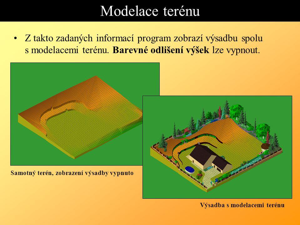 Modelace terénu. Z takto zadaných informací program zobrazí výsadbu spolu s modelacemi terénu. Barevné odlišení výšek lze vypnout.