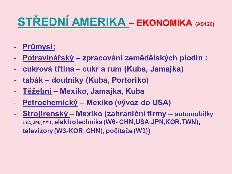 STŘEDNÍ AMERIKA – EKONOMIKA (AS120)