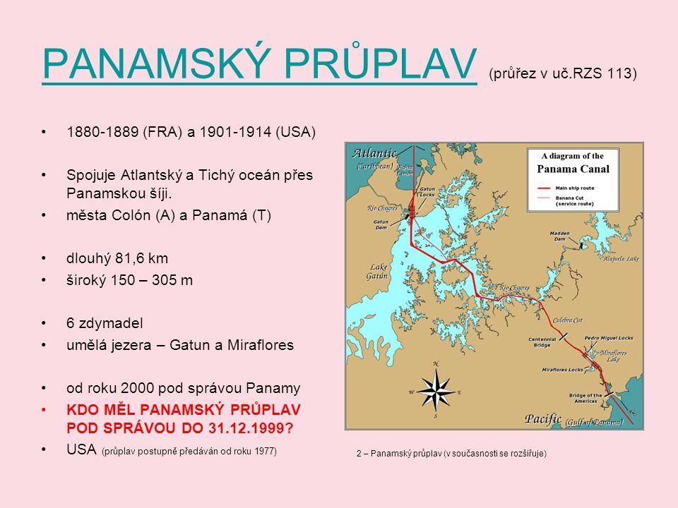 PANAMSKÝ PRŮPLAV (průřez v uč.RZS 113)
