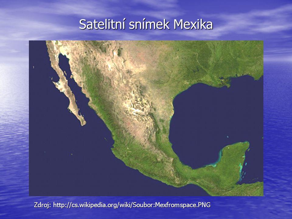 Satelitní snímek Mexika