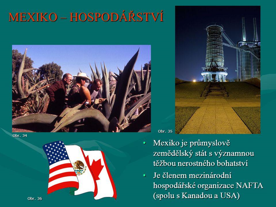 MEXIKO – HOSPODÁŘSTVÍ Obr. 35. Obr. 34. Mexiko je průmyslově zemědělský stát s významnou těžbou nerostného bohatství.