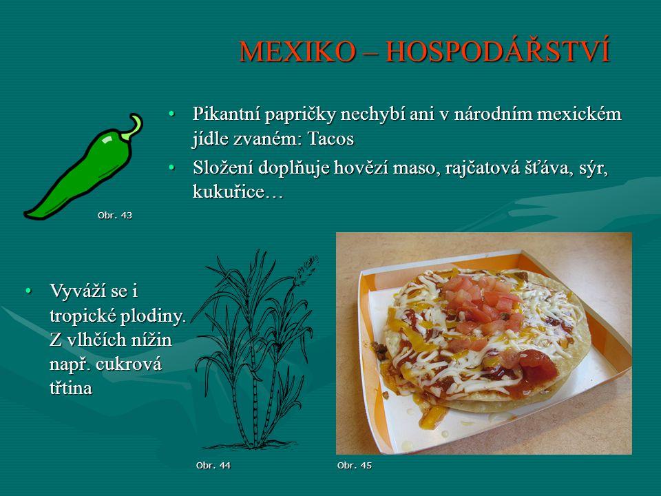 MEXIKO – HOSPODÁŘSTVÍ Pikantní papričky nechybí ani v národním mexickém jídle zvaném: Tacos.