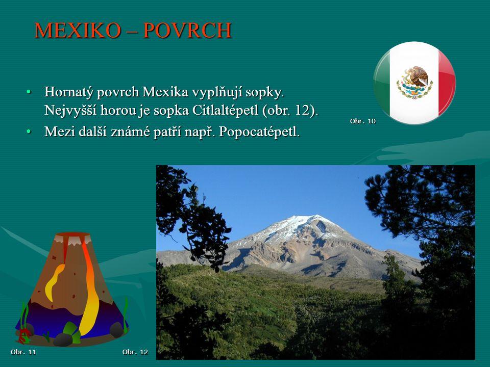 MEXIKO – POVRCH Hornatý povrch Mexika vyplňují sopky. Nejvyšší horou je sopka Citlaltépetl (obr. 12).