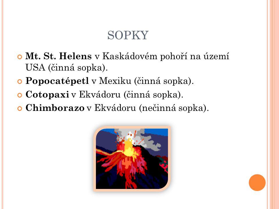 SOPKY Mt. St. Helens v Kaskádovém pohoří na území USA (činná sopka).