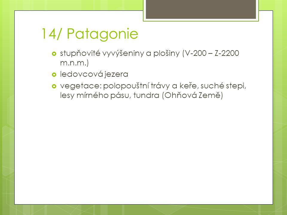 14/ Patagonie stupňovité vyvýšeniny a plošiny (V-200 – Z-2200 m.n.m.)