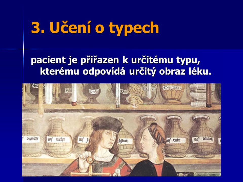 3. Učení o typech pacient je přiřazen k určitému typu, kterému odpovídá určitý obraz léku.
