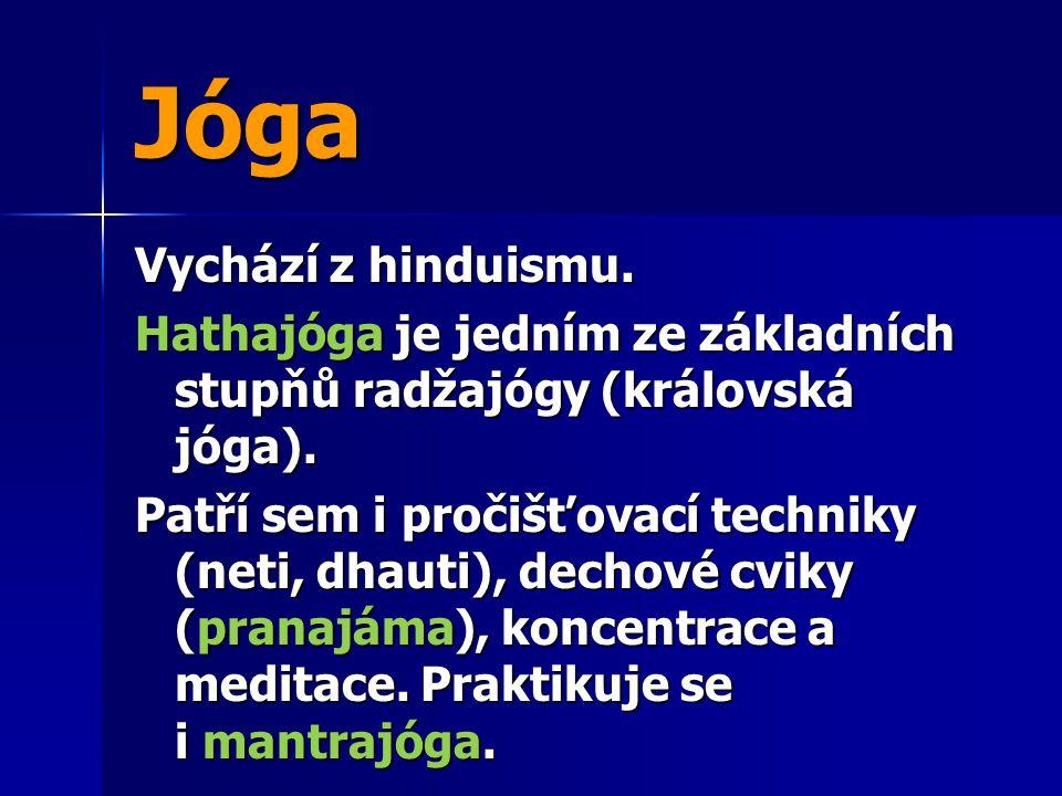 Jóga Vychází z hinduismu.