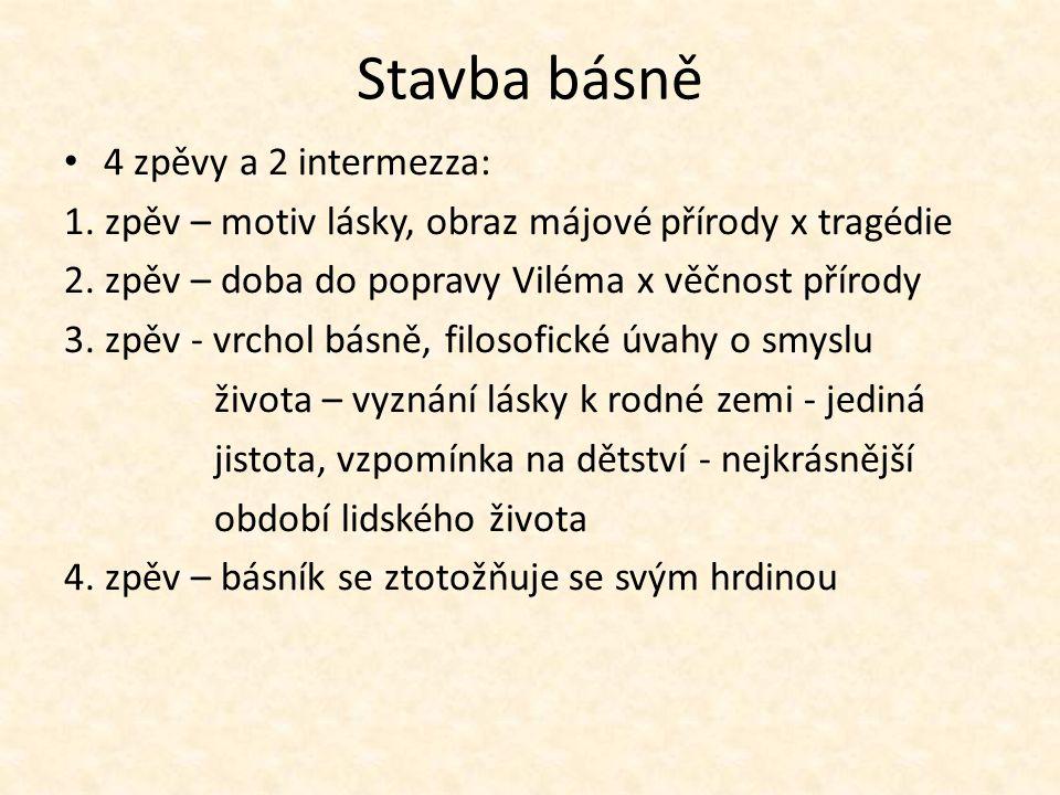 Stavba básně 4 zpěvy a 2 intermezza: