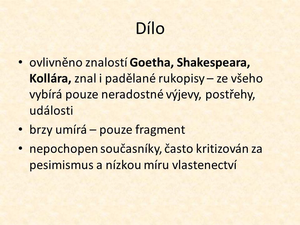 Dílo ovlivněno znalostí Goetha, Shakespeara, Kollára, znal i padělané rukopisy – ze všeho vybírá pouze neradostné výjevy, postřehy, události.