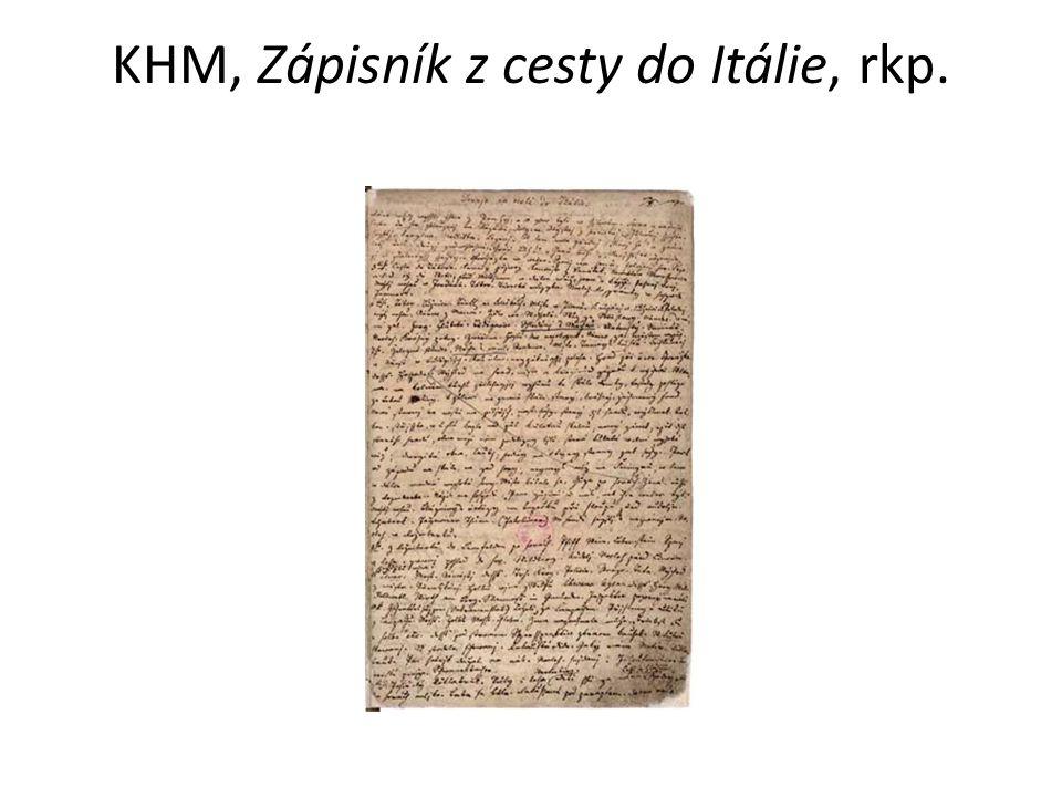 KHM, Zápisník z cesty do Itálie, rkp.