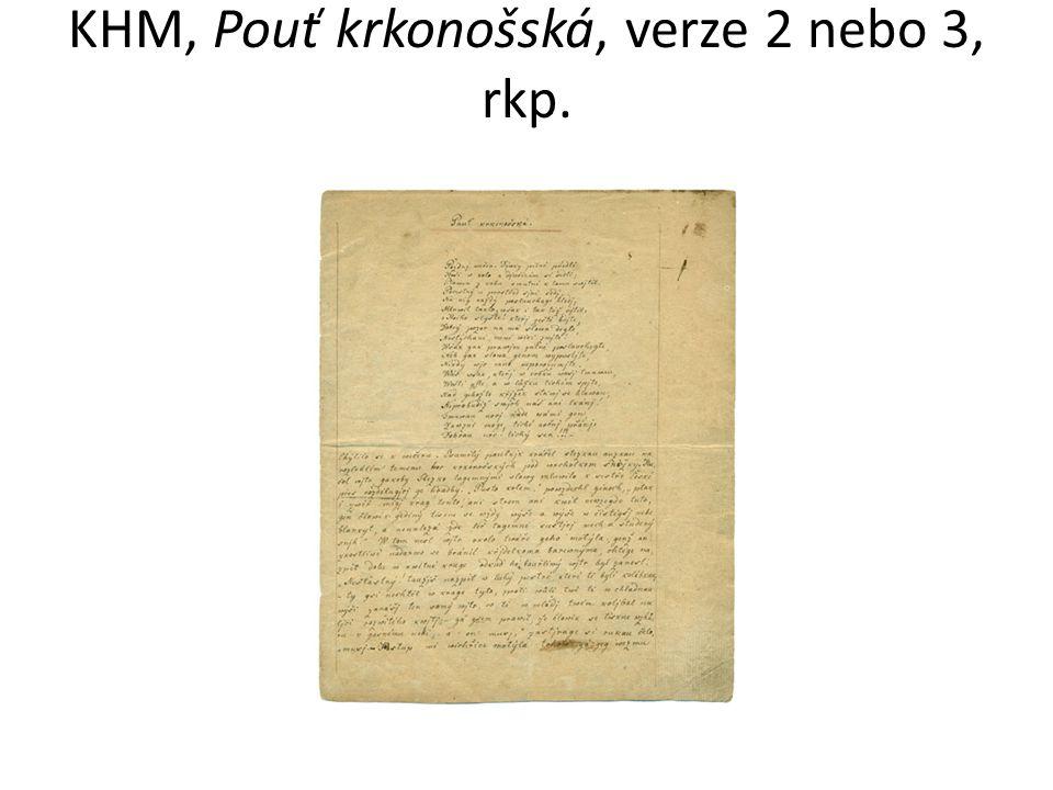 KHM, Pouť krkonošská, verze 2 nebo 3, rkp.