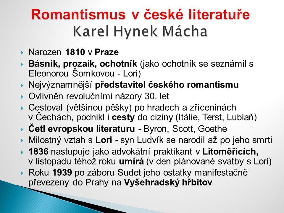 Romantismus v české literatuře Karel Hynek Mácha