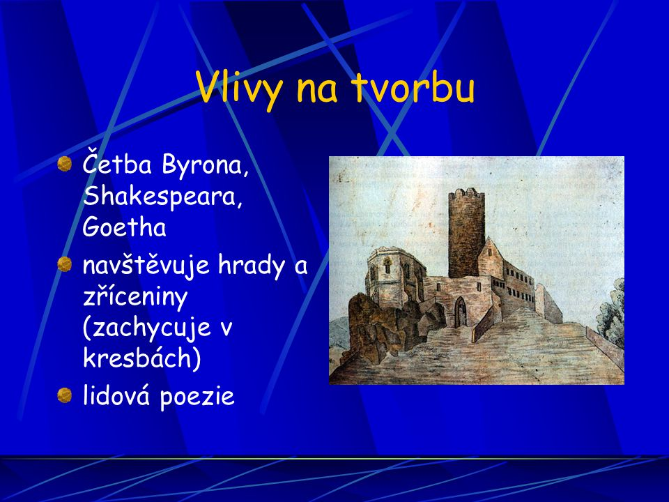 Vlivy na tvorbu Četba Byrona, Shakespeara, Goetha