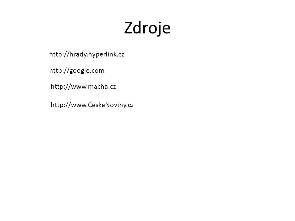 Zdroje http://hrady.hyperlink.cz http://google.com http://www.macha.cz