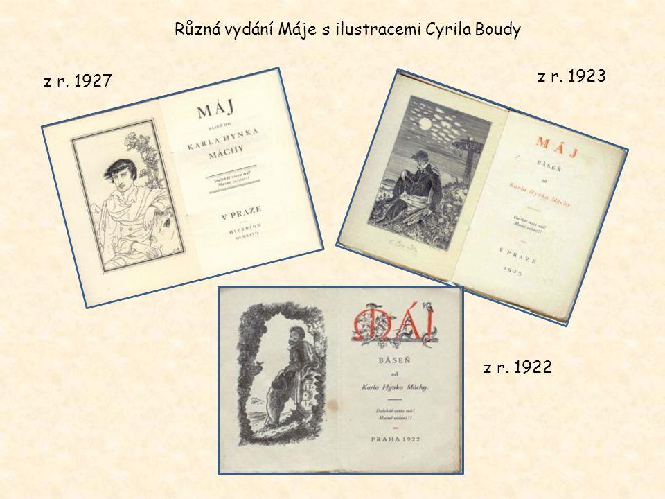 Různá vydání Máje s ilustracemi Cyrila Boudy
