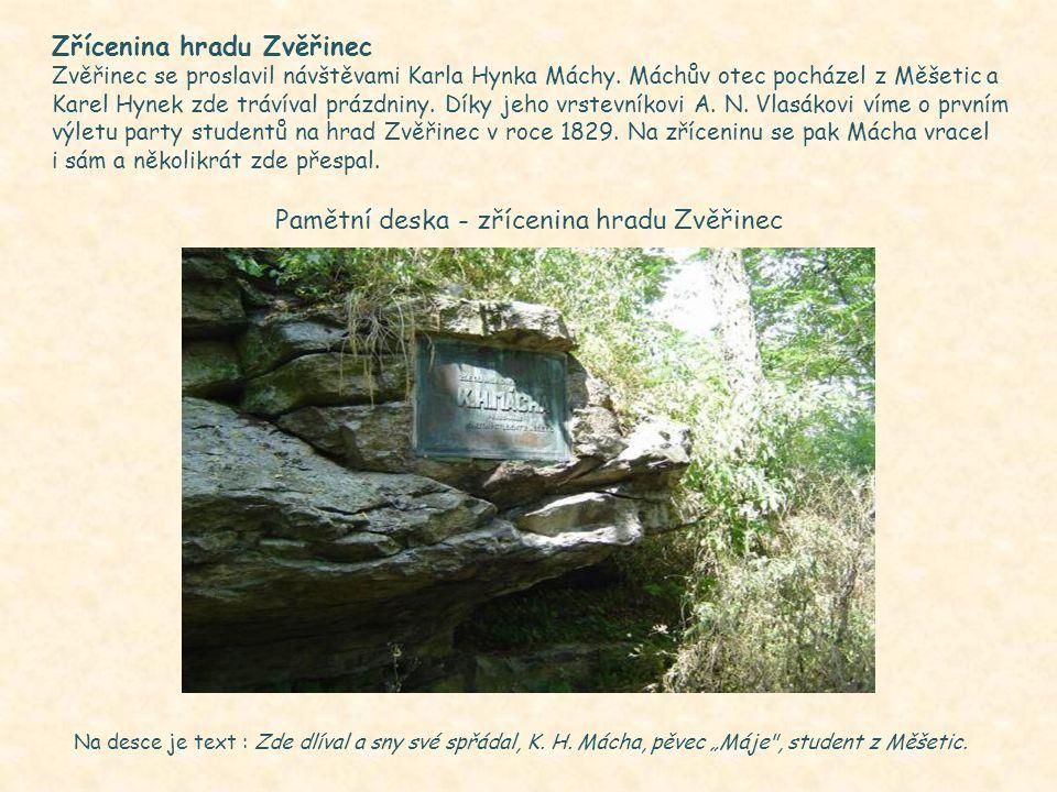 Pamětní deska - zřícenina hradu Zvěřinec