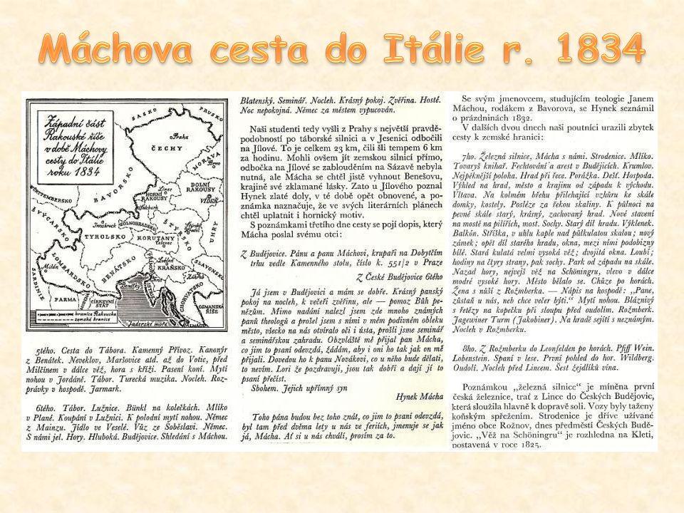Máchova cesta do Itálie r. 1834